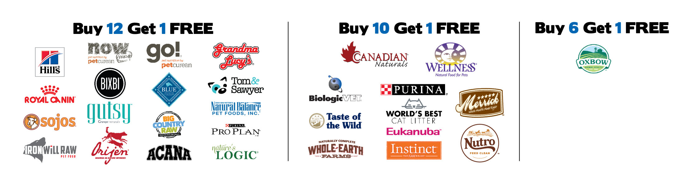 Buy 12 Get 1 Free: Hill's Science Diet, Bixbi, Go! Grandma Lucy's, Royal Canin, NOW Fresh, Tom & Sawyer, Natural Balance, Orijen, Acana, Pro Plan, Sojos (excluding Simple Remedy), Iron Will Raw (excluding meal deals), Big Country Raw (4lbs boxes, 6lbs totes, and 12lbs Mini Grab & Go Only), Crumps' Naturals (Gutsy), Nature's Logic.  Buy 10 Get 1 Free: Canadian Naturals, Wellness, Blue Buffalo, Biologic, Purina, Merrick, Taste of the Wild, World's Best, Eukanuba, Whole Earth Farms, Instinct, Nutro. Buy 6 Get 1 Free: Oxbow.