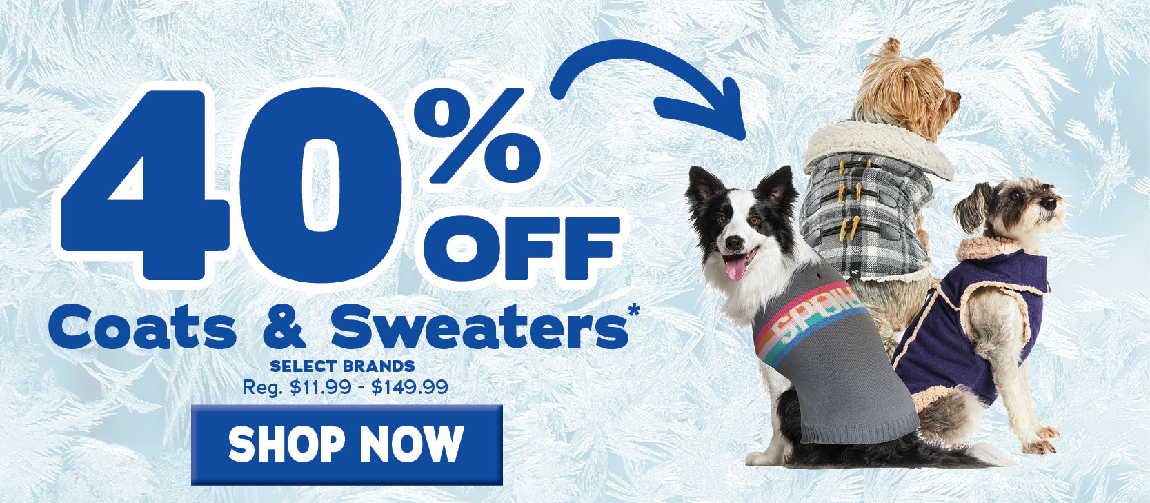 40 percent off Select Coats and Sweaters
