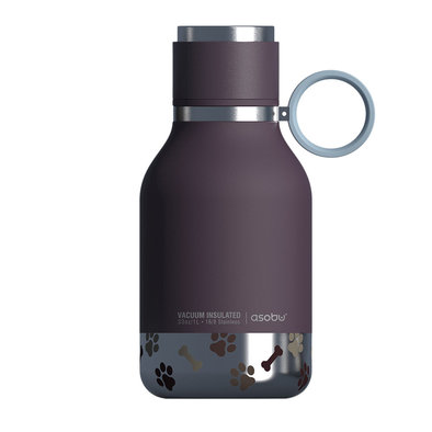 Dog Bowl Bottle - Stainless Steel - Burgundy