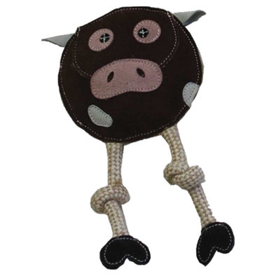 Flattie - Leather & Jute Cow - 11""