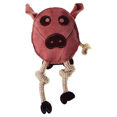 Flattie - Leather & Jute Pig - 11""