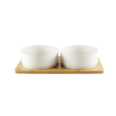 Bamboo & Ceramic Bowl - White