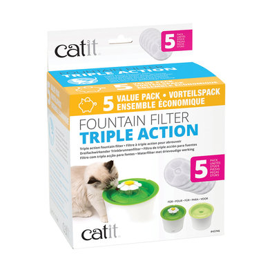 Catit 2.0 , Senses Triple Action Fountain Filter - 5 Pk