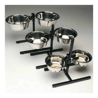 Adjustable Double Diner with Two Stainless Steel Bowls - 5 Qt