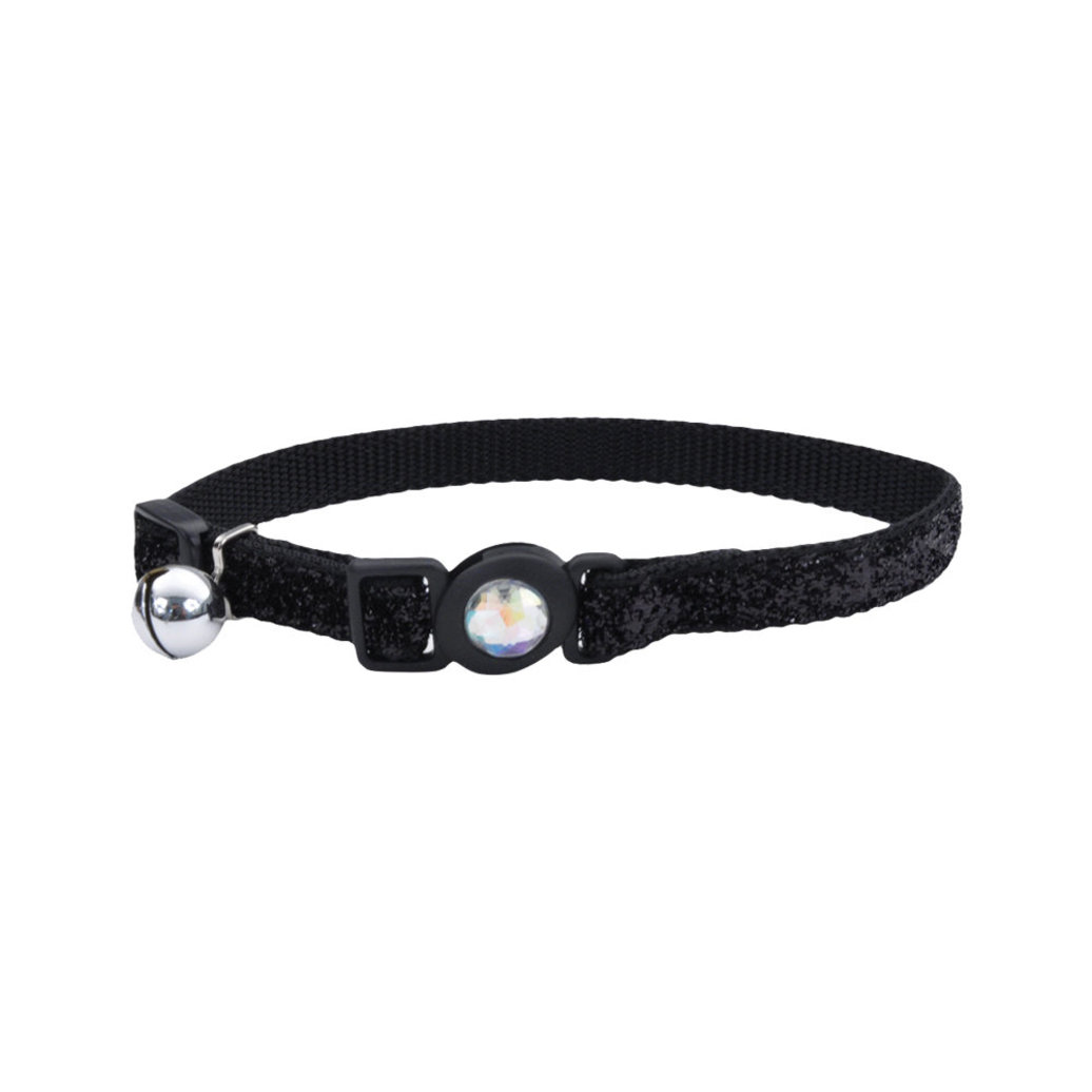 """View larger image of Jeweled Buckle Cat Collar - Black Glitter - 3/8"""""""