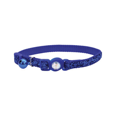 Jeweled Buckle Cat Collar - Blue Glitter - 3/8""