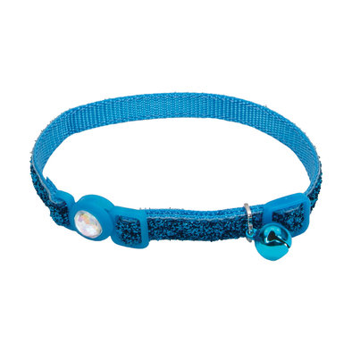 Jeweled Buckle Cat Collar-Blue Lagoon Glitter-3/8""