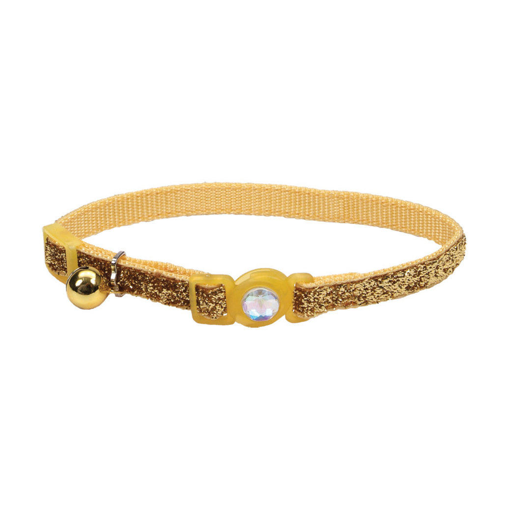 View larger image of Jeweled Buckle Cat Collar - Gold Glitter - 3/8""