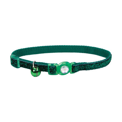Jeweled Buckle Cat Collar - Green Glitter - 3/8""