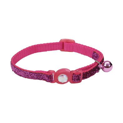 Jeweled Buckle Cat Collar - Pink Glitter - 3/8""