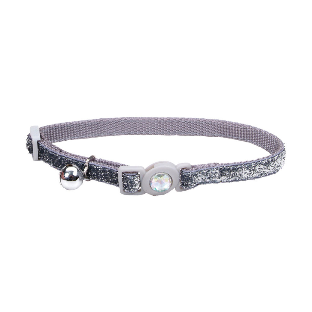 View larger image of Jeweled Buckle Cat Collar - Silver Glitter - 3/8""