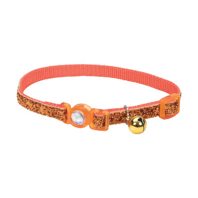 Jeweled Buckle Cat Collar-SunsetOrangeGlitter-3/8""