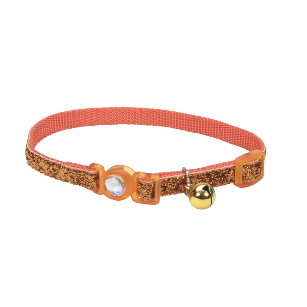 View larger image of Jeweled Buckle Cat Collar-SunsetOrangeGlitter-3/8""