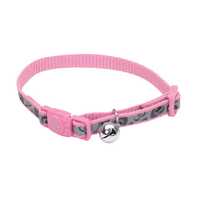 Cat, Collar - Lazer Brite - Pink Hearts with Bell - 3/8""