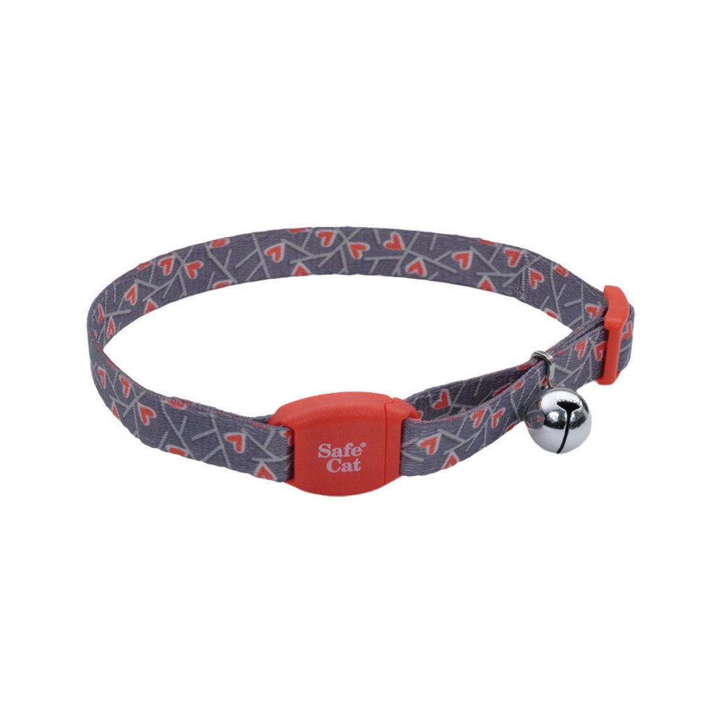 """View larger image of Safe Cat Collar Buckle - Salmon Heart Charcoal - 3/8"""""""