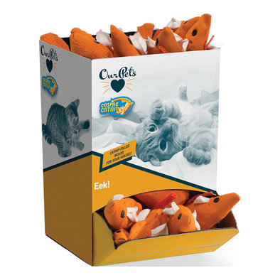 100% Catnip Filled Toys, Mouse - Orange - Large