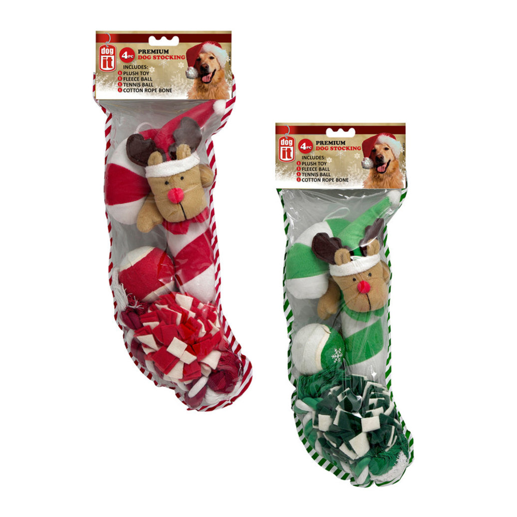 View larger image of Deluxe Dog Toy Stocking - 4 Pc - Red & Green