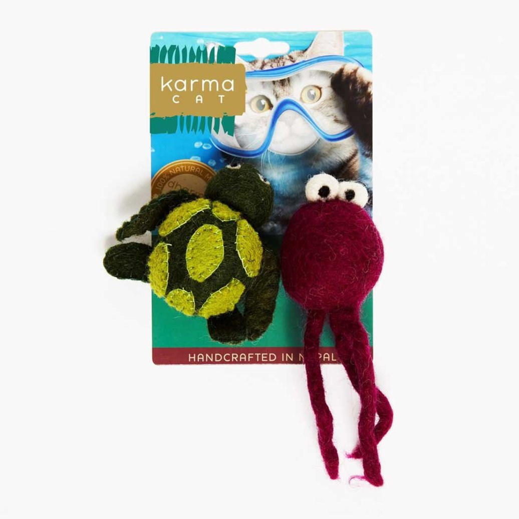 View larger image of Wool Pet Toy - Turtle & Jellyfish - 2 pk