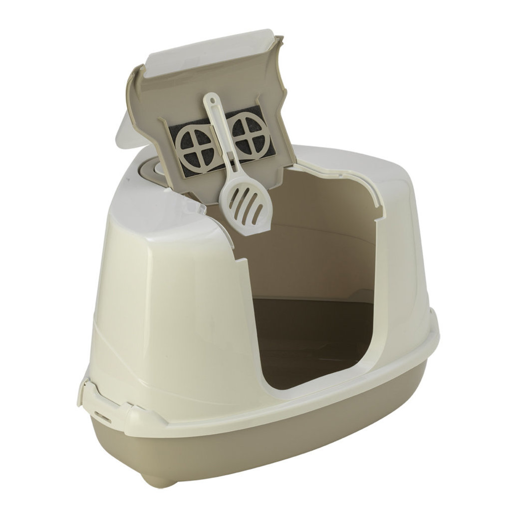 View larger image of Flip Cat Corner Hooded Litter Pan - Warm Grey