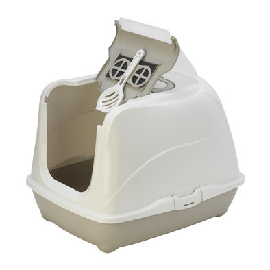 Flip Cat Deluxe Hooded Litter Pan-Warm Grey-Jumbo
