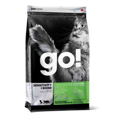 GO!, SENSITIVITY + SHINE Grain Free Freshwater Trout + Salmon Recipe for Cats