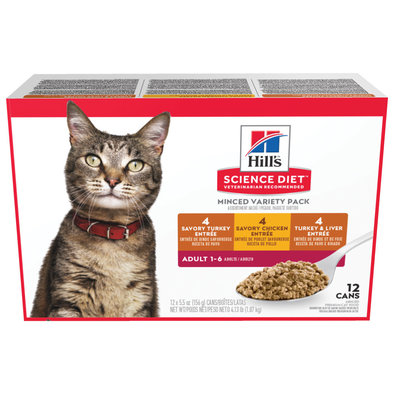 Adult Savory Entrée Canned Cat Food Variety 12 Pack, 156g