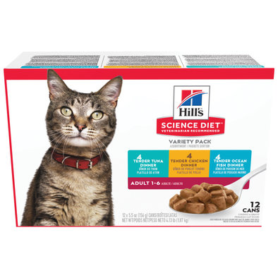 Adult Tender Dinners Canned Cat Food Variety 12 Pack, 156g