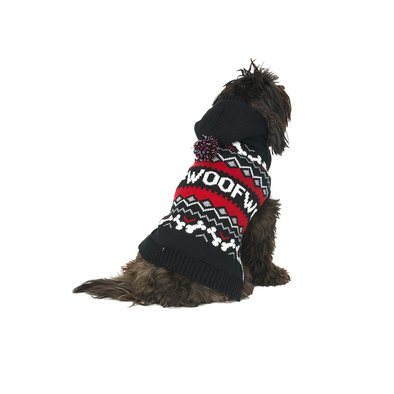 Fairisle Woof Hoody Sweater - Black