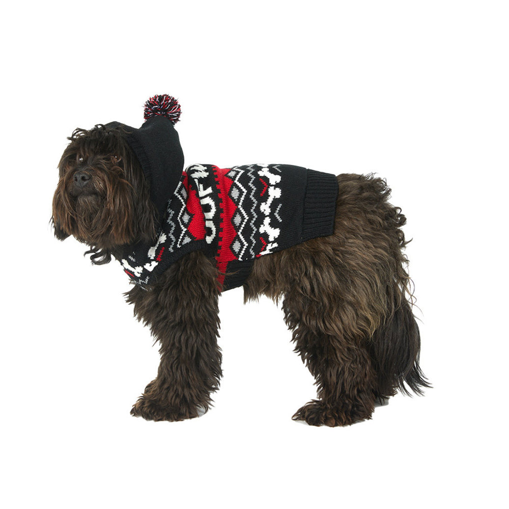 View larger image of Fairisle Woof Hoody Sweater - Black