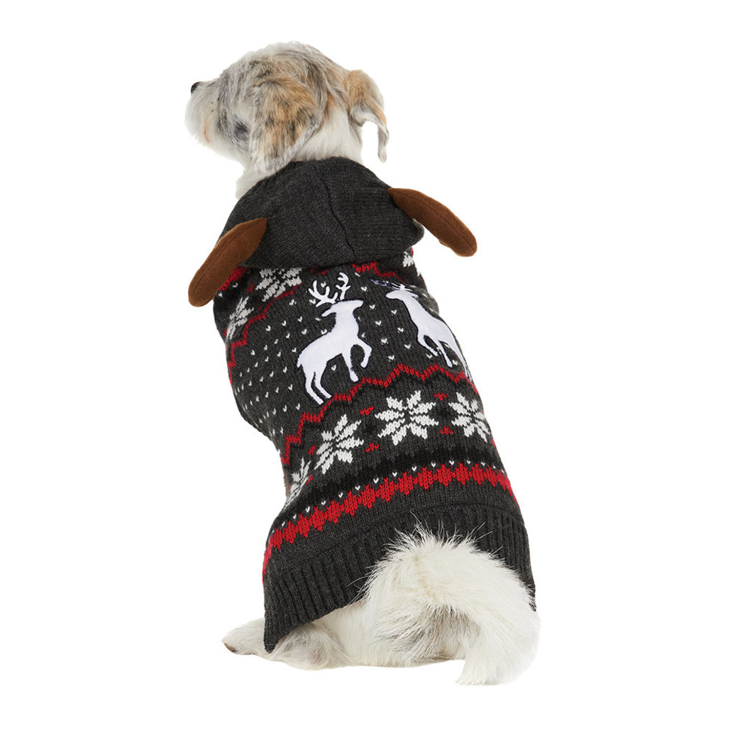 View larger image of Hooded Fairisle Sweater - Charcoal Mix