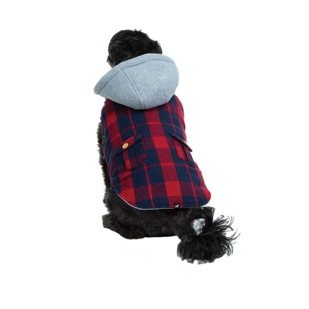 View larger image of Melton Coat Plaid Hooded - Cranberry Red