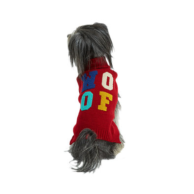 Mockneck Sweater w/ Chenille Woof - Cranberry Red