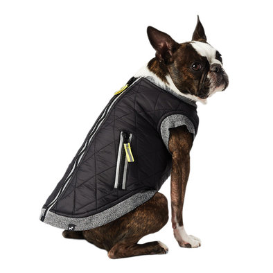 Nylon Quilted Vest w/ Zipper - Black