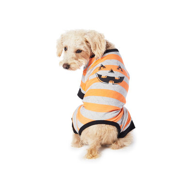 Onesie - Stripes AOP and Jack-O-Lantern - Grey Mix