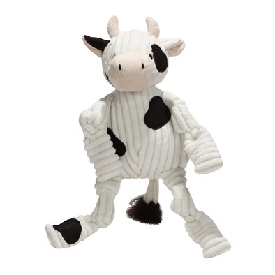 Corduroy Sock Knottie Cow - White/Black - Large
