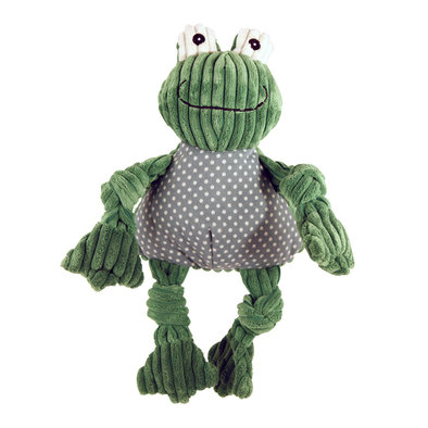 Corduroy Sock Knottie Frog - Green/White - Small