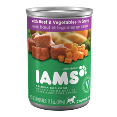 Canned Dog Food, ProActive Health Adult, Chunks with Beef & Vegetables in Gravy - 12.3 oz