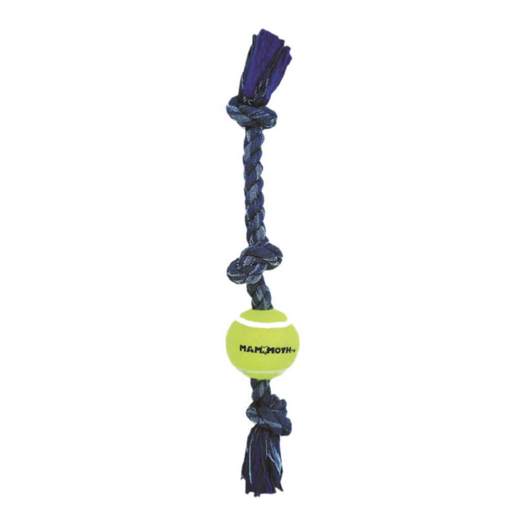 "View larger image of Denim Rope 3 Knot Tug w/3"" Ball - 20"""