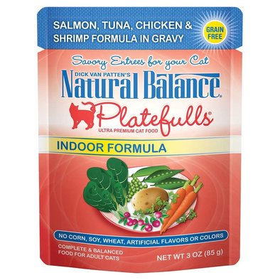 Feline Adult Platefulls Indoor - Salmon, Tuna, Chicken & Shrimp - 85 g