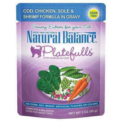 Platefulls Cat Pouch, Cod, Chicken, Sole & Shrimp Formula in Gravy - 85 g