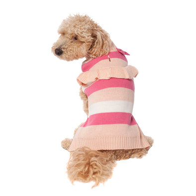 Pet Posse, Bow Sweater - Pink Stripe
