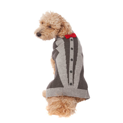 Pet Posse, Bow Tie Sweater - Grey