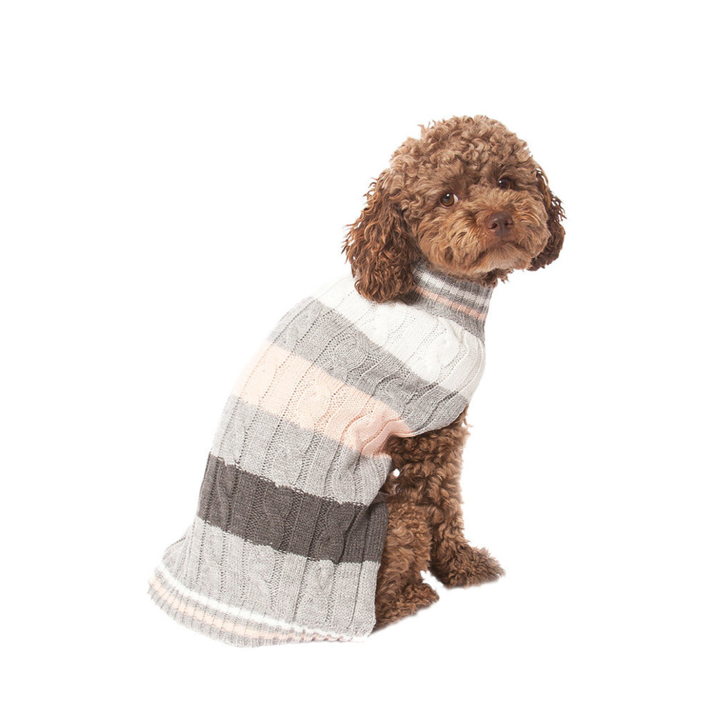 View larger image of Pet Posse, Cable Knit Sweater - Pink Stripe