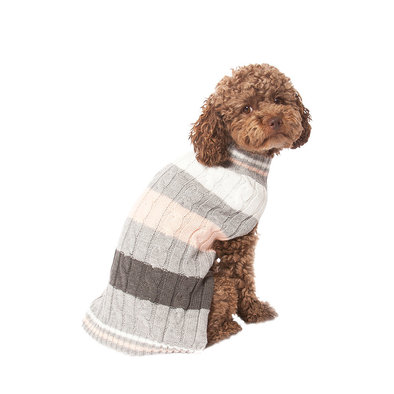Pet Posse, Cable Knit Sweater - Pink Stripe