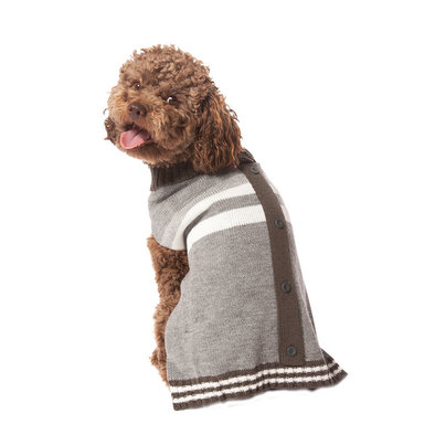 Pet Posse, Cardigan Sweater - Grey Stripe