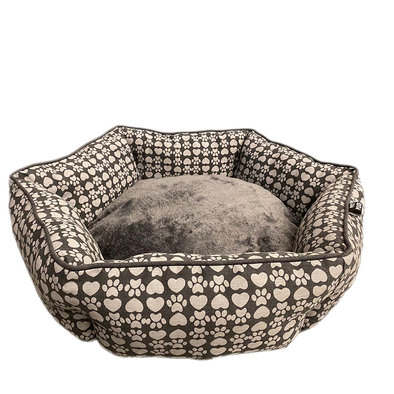 Cuddler Bed Hexagon - Paw Canvas - Dark Grey - 28""