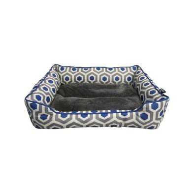Cuddler w/Sherpa Bed-Dark Heather Grey&Blue-28x20""