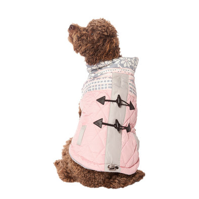 Pet Posse, Fair Isle Puffer Parka - Pink