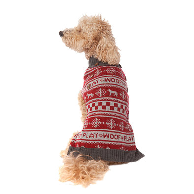 Pet Posse, Fair Isle Sweater Dog - Red