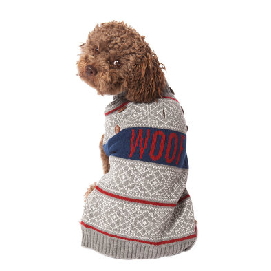Pet Posse, Fair Isle Sweater - Grey Woof
